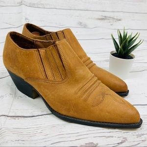 Pimento Tan Real Leather Western Ankle Booties